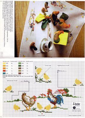 σχέδια με κοτούλες και κοκοράκια για τραπεζομάντηλα , καρέ ή σεμέν κεντημένα σταυροβελονιά   chicken cross stitch patterns to stitch ta...