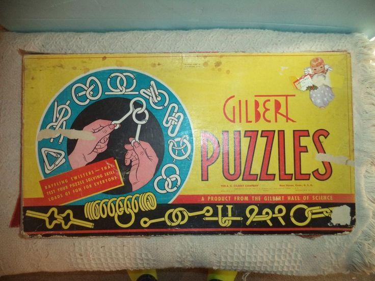 Vintage 1920's A.C. Gilbert Puzzle Set No.1032 Puzzle Parties w/ Instructions    #ACGilbert