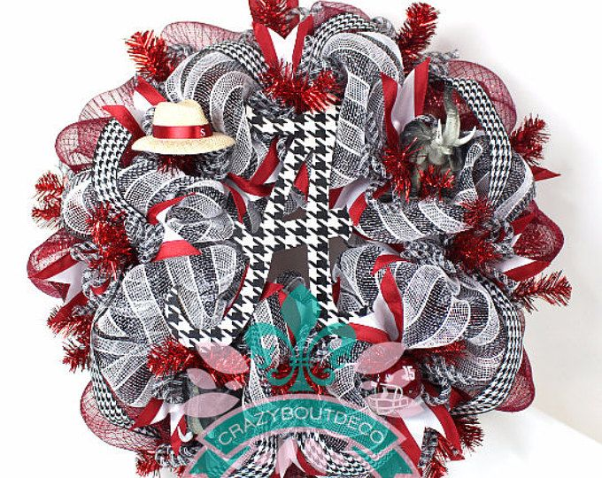 Alabama Crimson Tide Fan Deco Mesh Door Wreath.