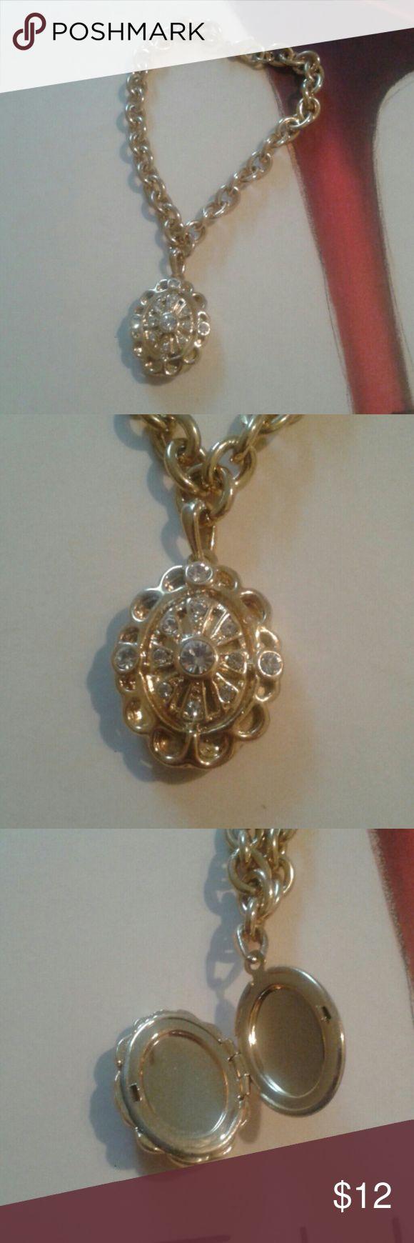 Selling this Locket Bracelet in Goldtone and Rhinestones on Poshmark! My username is: micsjwl. #shopmycloset #poshmark #fashion #shopping #style #forsale #Jewelry