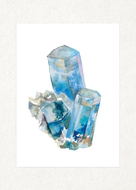Aquamarine   5 x 7 Watercolor Art Print by songdancedesign on Etsy