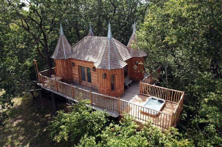 "The French tree house ""Monbazillac,"" a shingled interpretation of the original Chateau de Monbazillac in southwestern France, sleeps two and has WiFi."