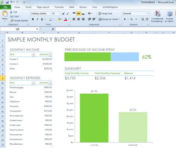 Simple Monthly Budget Spreadsheet for Excel 2013 | Free Excel ...