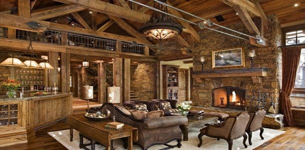 Beautiful Rustic Living Room with Wood Furniture