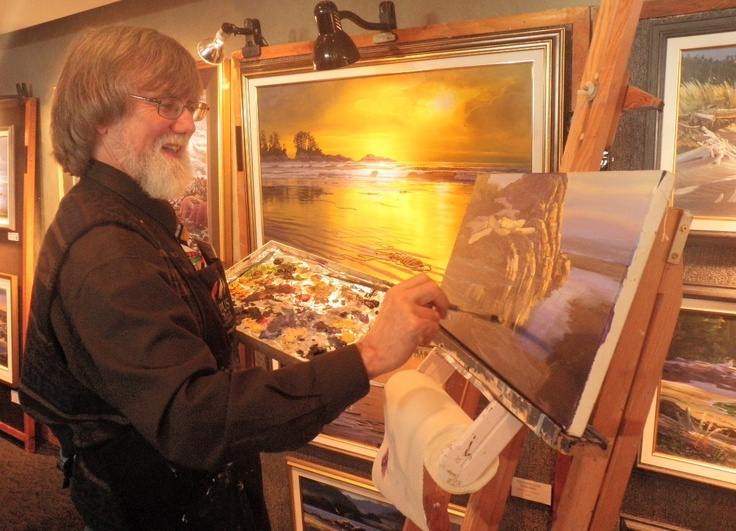 Local artist Mark Hobson puts on a demonstration during one of his exhibitions at the Wick.  One more reason why Tofino is such an inspirational place.