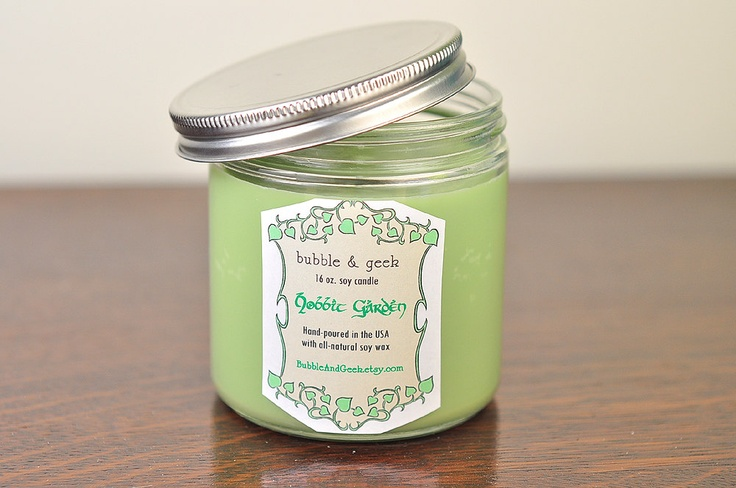 Hobbit Garden Soy Candle 16 oz jar by bubbleandgeek. It says it smells like English Ivy, oak moss, fruits, and garden mint