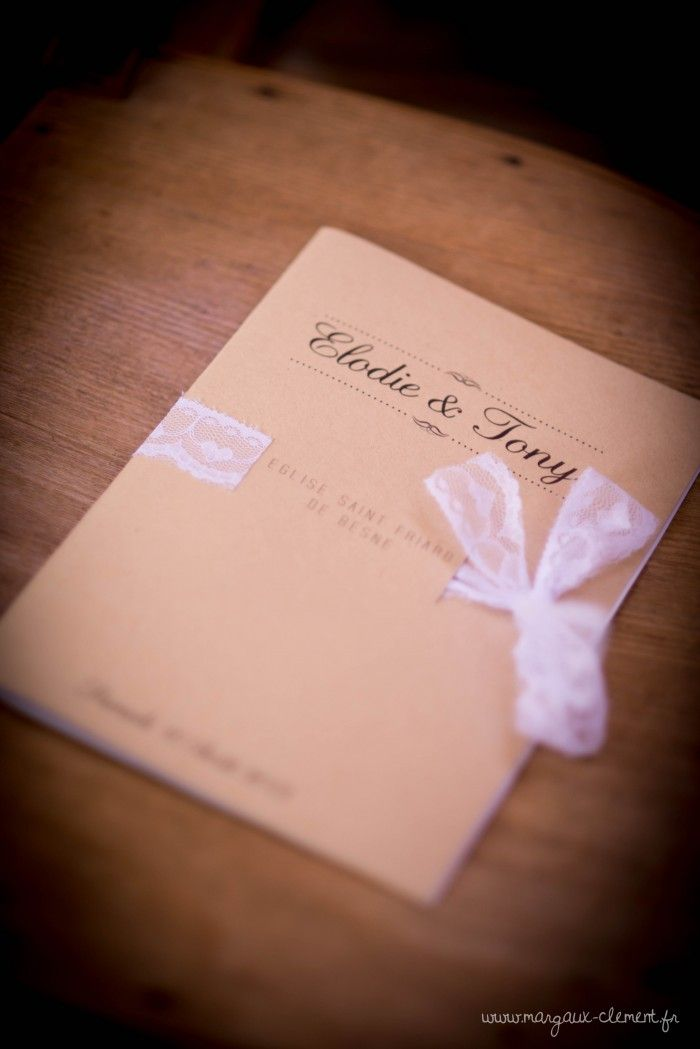 Livret invitation mariage dentelle  - Wedding invitation lace notebook