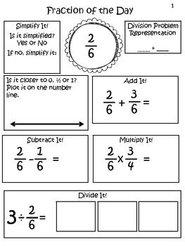Fraction of the Day Common Core Aligned 5th Grade: This idea of a fraction of the day is great! Start it in 3rd grade.