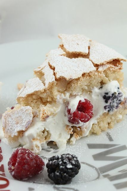Hazelnut Meringue Cake with Berries and Cream