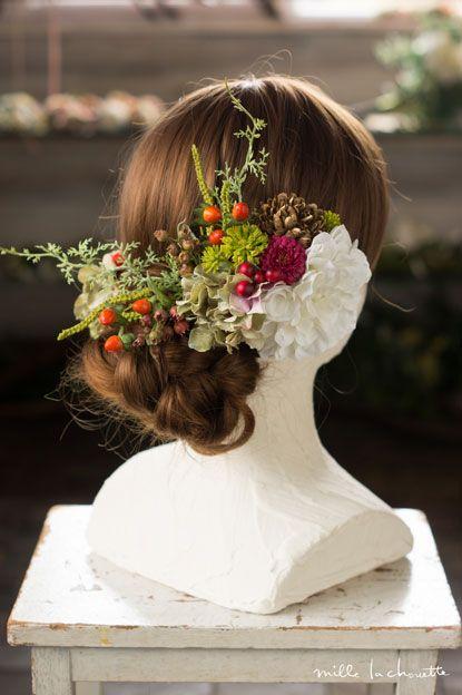 (和装・髪飾り)ホワイトダリア グリーンレッド ヘッドドレス(4P) head dress