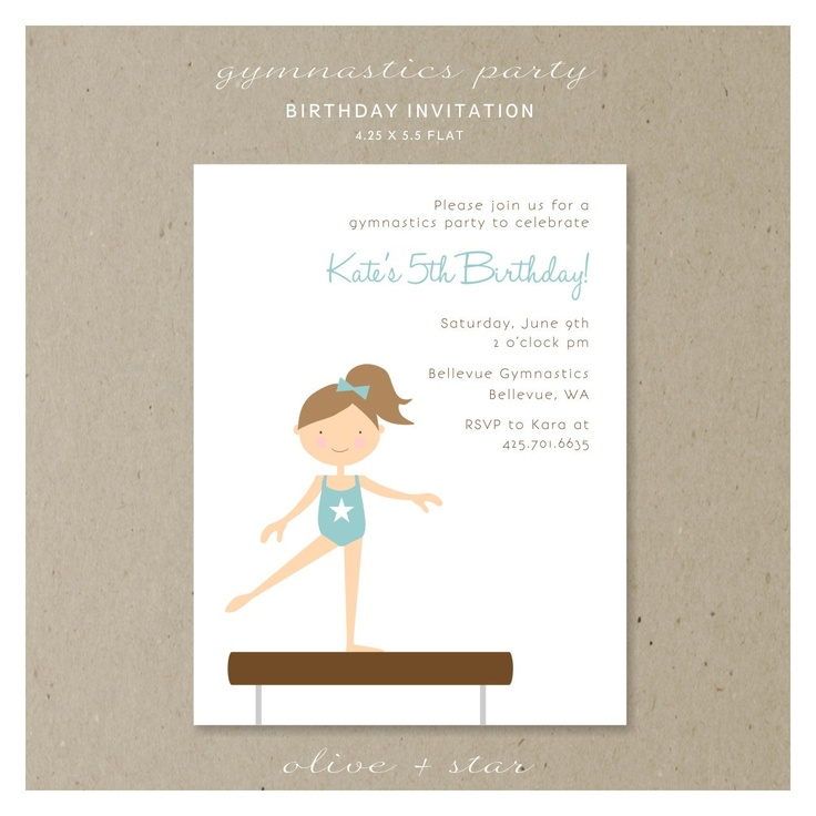 gymnastics party birthday invitation set by OliveandStar on Etsy