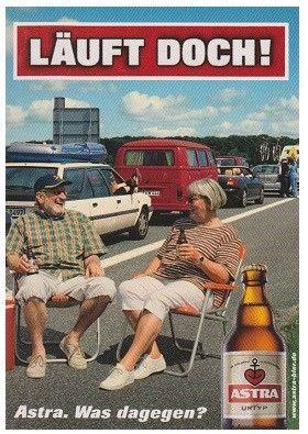 FreeCard-Winni´s PostCard-Store - LÄUFT DOCH! - Astra-Bier. Was dagegen? - (Holsten-Brauerei Hamburg - edgar.de - Edgar-Karte Germany)
