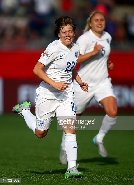Fran Kirby of England celebraes her goal during the FIFA Women's World Cup 2015 Group F match between England and Mexico at Moncton Stadium on June 13, 2015 in Moncton, Canada.