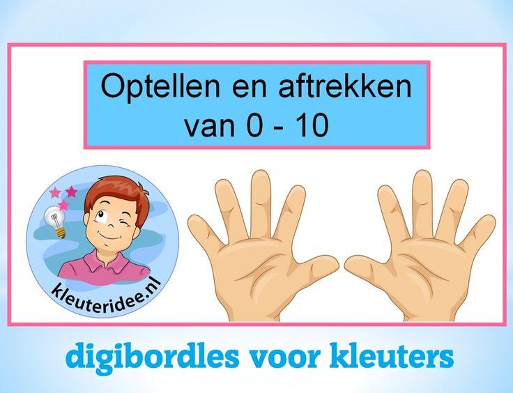Interactieve digibordles rekenen voor kleuters, sommen tot 10, kleuteridee / Preschool math powerpointlesson