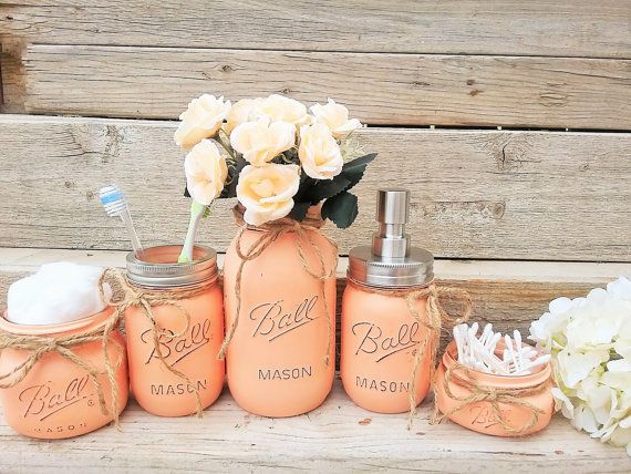 Mason Jar Bathroom Decor  Peach Bathroom Set  Painted Mason Jar Bathroom Set   Bathroom Set  Bathroom Decor  Peach Bathroom Decor  Mason Jars. Best 25  Bathroom sets ideas on Pinterest   Guest bath  Bathroom