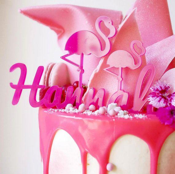 Christening cake topper, flamingo, Christening, baptism cake, Customise message name cake topper, baby's christening, baby's baptism