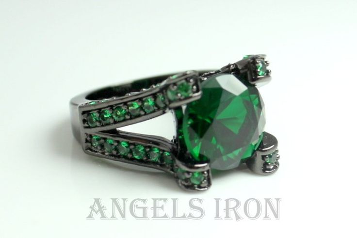 Green Emerald CZ Black Rhodium Ring Unique Jewelry Women Cocktail Rings Gift for her