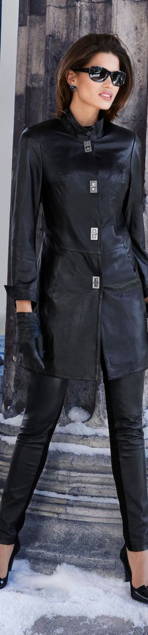 A Must Have Leather Overcoat With Leather Leggings and Black Heels - Gorgeous - Madeleine