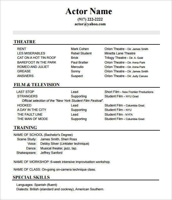 Acting Resume No Experience Template How To Create A Good Acting Resume Template Acting Resume Acting Resume Template Acting Resume Sample Resume Templates