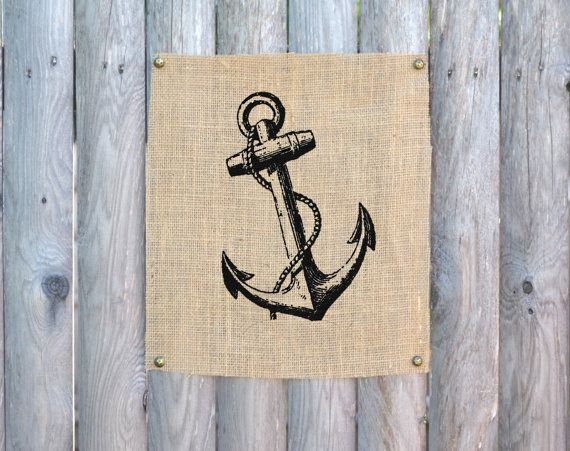 Anchor+Wall+Art+Nautical+Wall+Art+Burlap+Wall+Art+by+fiberandwater,+$20.00