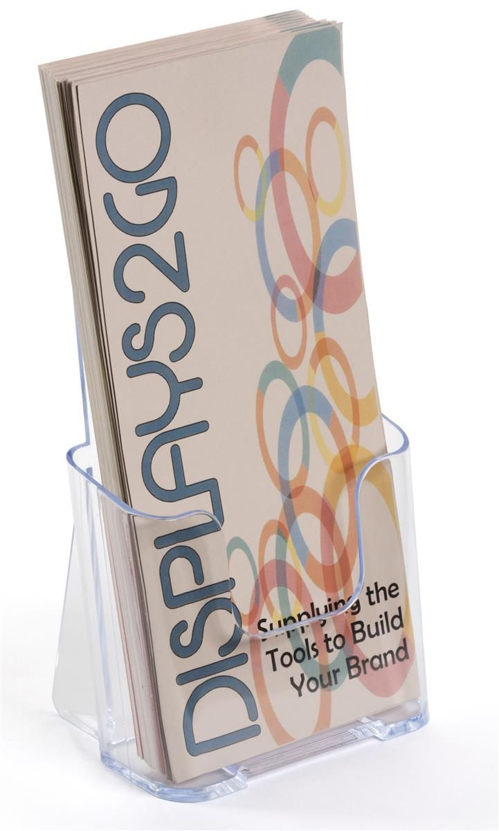 4 x 9 Brochure Holder for Tabletop or Wall, Single Pocket - Clear