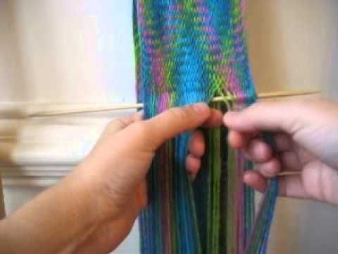 how to make a scarf based on Peter Collingwood's book The Techniques of Sprang, section 7.1, Over One, Under One Interlaced Sprang. Sprang interlacing makes ...