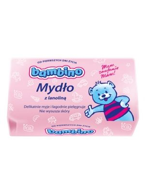 BAMBINO 90g Mydło toaletowe dla dzieci i niemowląt  • wyłącznie naturalne składniki • nie posiada barwników i konserwantów • nawilża skórę • zapobiega podrażnieniom
