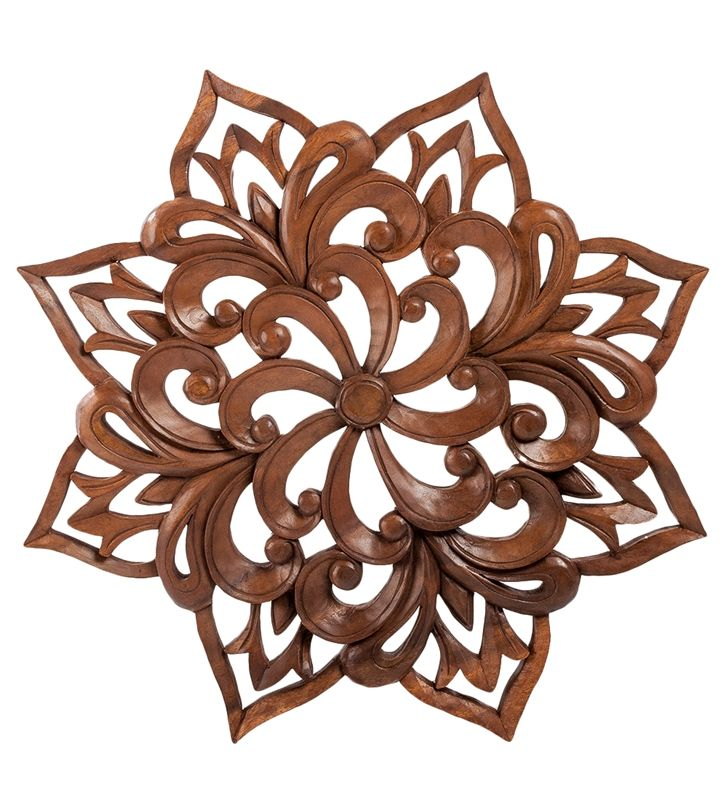 Панно резное «Цветы» 17-070 (суар, о. Бали) Страна производства: Индонезия; Материал: суар; Диаметр: 49 см; #carved #panels #folk #art #handmade #панно #резьба #ручнаяработа #Индонезия #Indonesia