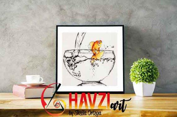 Lámina de pez rojo · Impresión de pez de colores · pez de colores para decoración hogar · Dibujo de pez de colores · Dibujo libertad