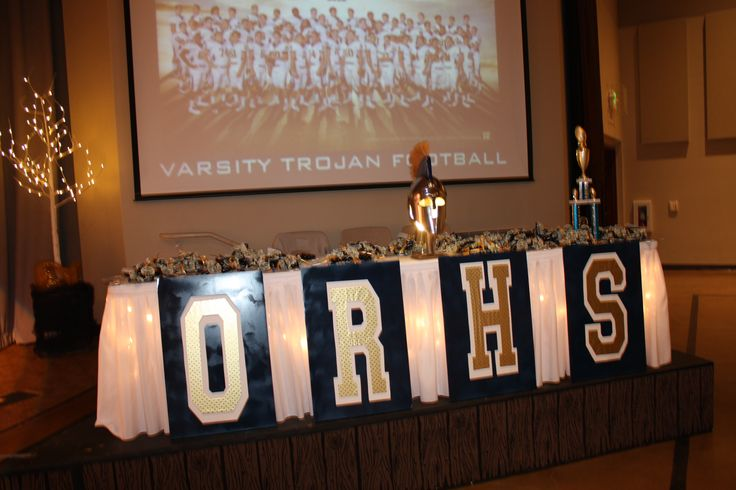 Football Banquet, Decor, Stage Decor, Football Banquet Awards Table, Coaches gifts, players gifts, players awards
