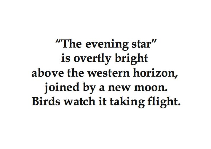 """The evening star"""