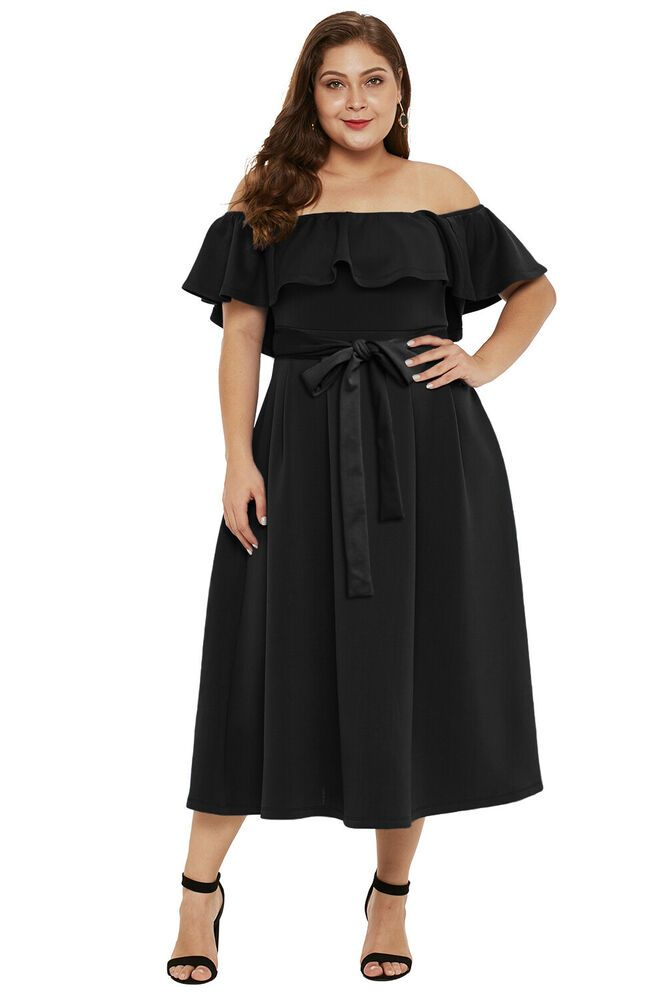 CLEARANCE SALE Black off shoulder prom evening dress plus size xl ...