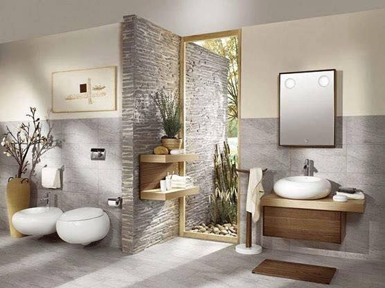 Bathroom with designs of nature