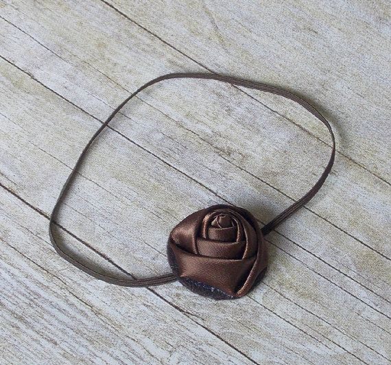 Satin Rosette Headband on a Skinny Band  Chocolate by OhSoWhimzy