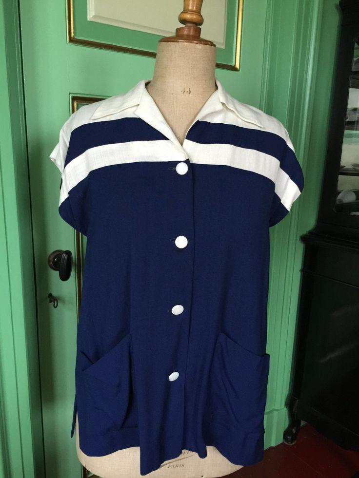 1940s 1950s Woman's linen blouse, ready for the summer or Viva las Vegas door Tonupgirl op Etsy