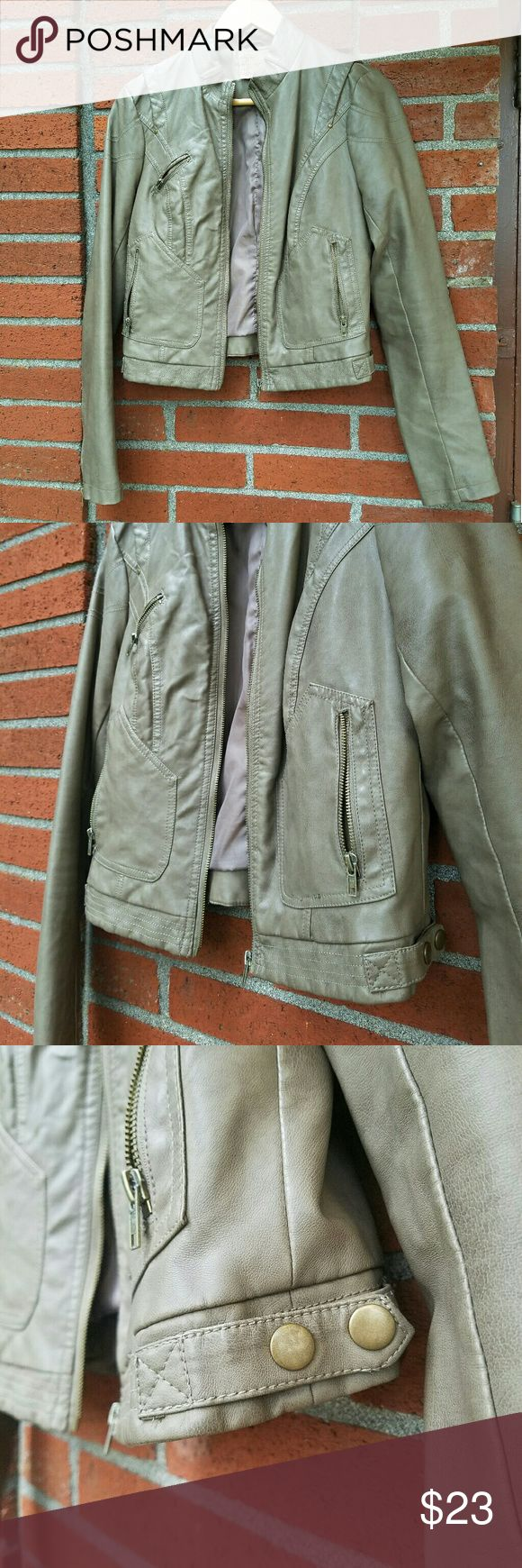 "Taupe Moto Jacket, Vegan Leather Vegan leather motorcycle jacket in taupe, from the brand ""Mine"". It is in excellent condition and I've worn it just a few times. No stains, tears, or damage of any kind. Lots of accents and interesting features. Perfect for layering in spring and summer evenings, and looks great with jeans in the fall. Jackets & Coats"