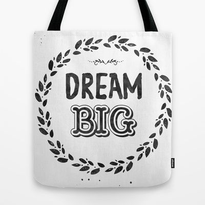 "TOTE BAG	/ 16"" X 16""  Arista type (lunarsoda) Dream Big Midnight night color by Arista Type"