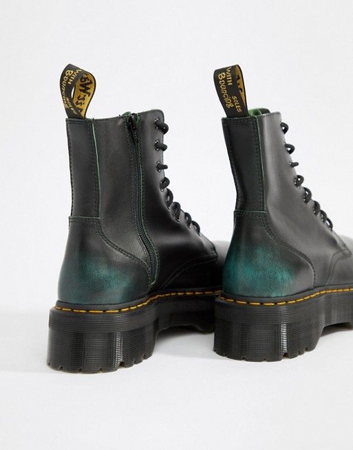 Dr Martens   Dr Martens Jadon 8-eye chunky sole boots in green   Dr ... 189251f6e82e