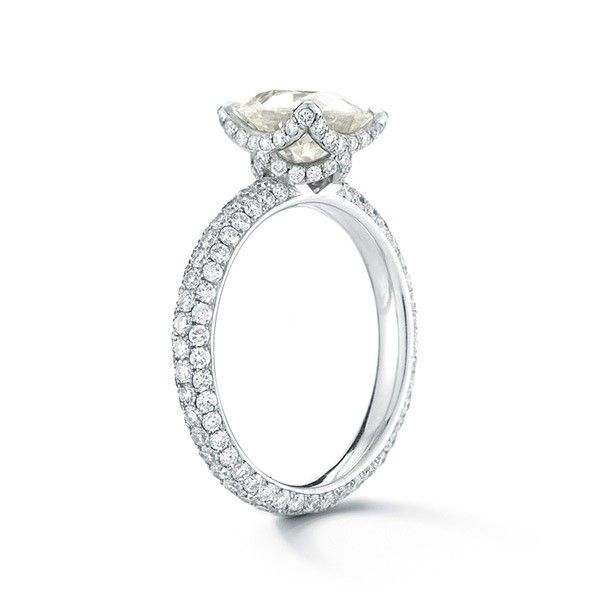 The Platinum Victoria Rose Setting - Micro-Pave - Engagement Rings