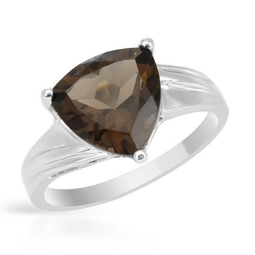Sterling Silver Ring With Topaz - Size 7 Irresistible ladies ring with genuine topaz well made in 925 sterling silver. Total item weight 3.0g. Gemstone info: 1 topaz, 6.35ctw., with trillion shape and smoky color.