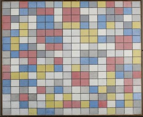 Piet Mondriaan - Rastercompositie 9 - 1919  The primary colors are start doing their work in his paintings.