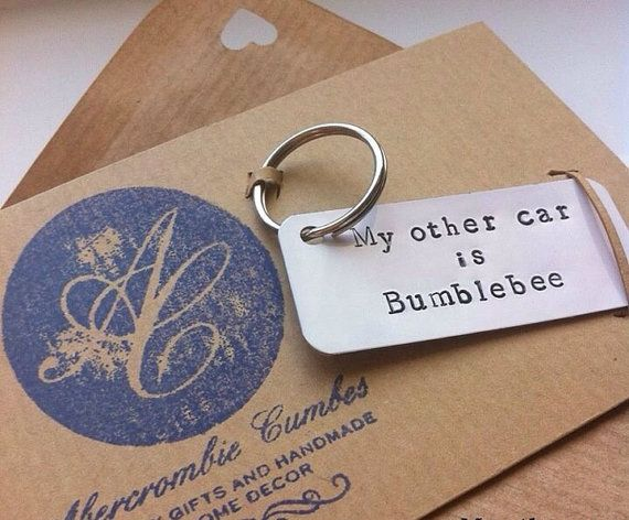 My other car is Bumblebee  Hand stamped metal by AbercrombieCumbes