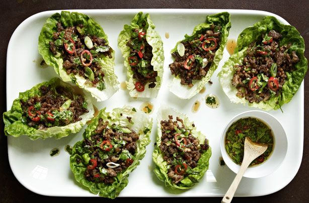 Gordon Ramsay's Chilli Beef Lettuce Wraps - (print version) - using beef and pork, Asian flair - for Low Carb sub brown sugar