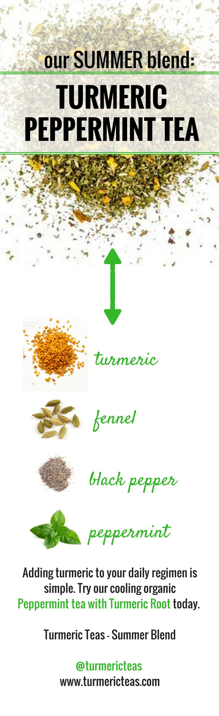 What's inside our Turmeric Teas Summer blend? A cooling organic peppermint loose leaf tea with turmeric root! Turmeric, fennel, black pepper, and peppermint - and these are just our main ingredients! Click to learn more about our Summer blend and purchase the blend. #turmericteas #turmeric #pepperminttea #peppermint #organic #organicteas #healthyteas #teas