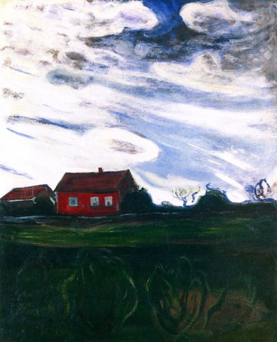 Landscape with Red House Edvard Munch - 1902-1904
