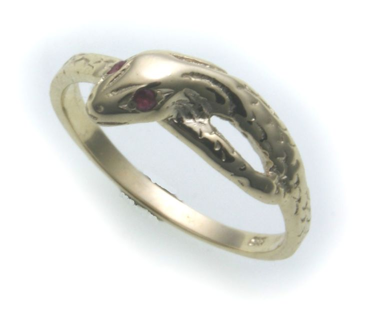 Snake Ring real gold 333 with Real Ruby Ring Snake Yellow gold Unisex #Markenlos…