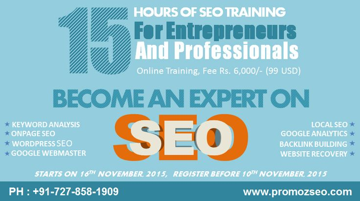 Hello everyone, Join The 5 days Online SEO Training Program by PromozSEO from Nov 16th, 2015.  This course will help you to learn the Real Techniques of ‪#‎SEO‬, so that you yourself can do the same on your website or blog to attract more visitors and business leads.  Feel absolutely free to call us at +91-727-858-1909 / +91-980-445-7170.