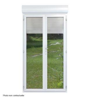 Porte-Fenêtre monobloc pvc dormant de 100 mm avec volet roulant intégré manuel 2 vantaux