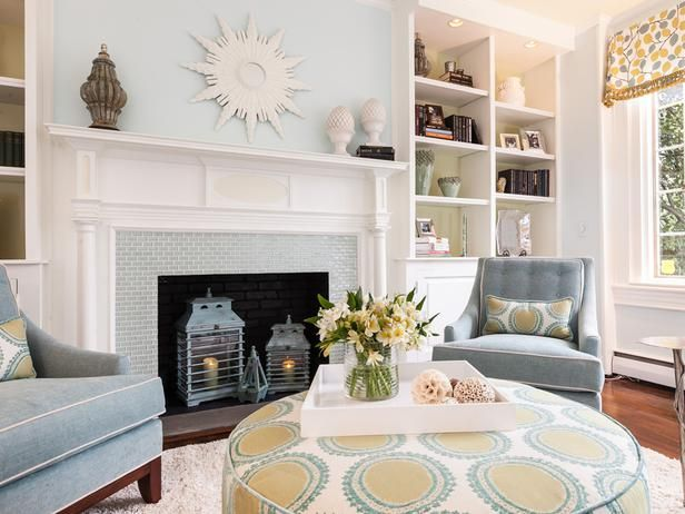 Natural Light Pours Into This Living Room After A Big Redo Resulted In Soft Blue Walls