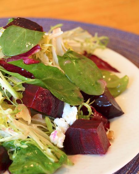 Roasted Beet Salad with Goat Cheese, Walnuts & Honey-Dijon Vinaigrette